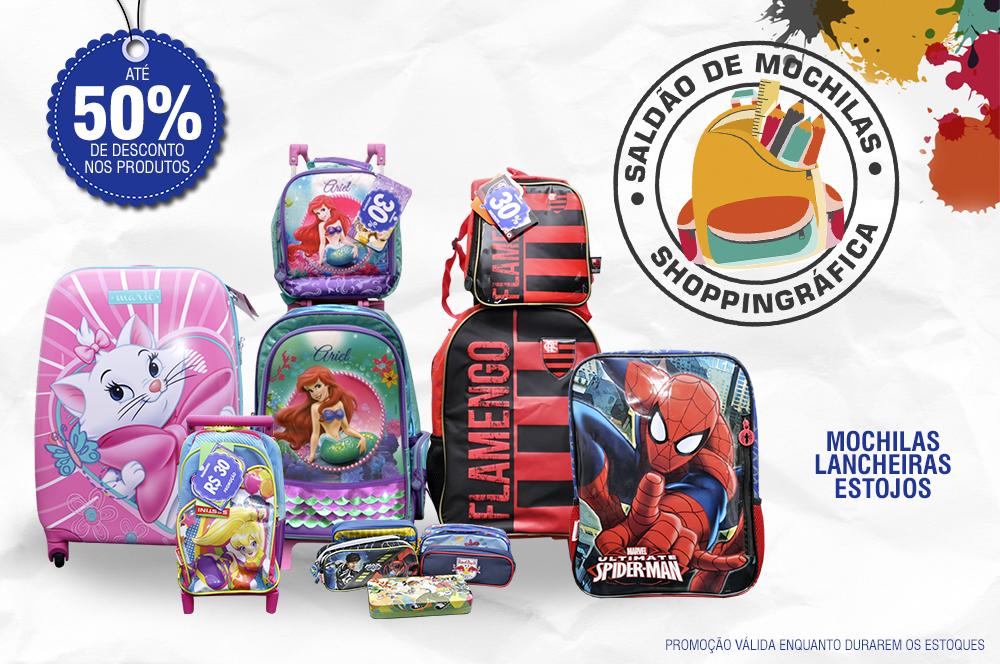 Shoppingráfica com descontos de até 50% em saldão de mochilas, lancheiras e estojos