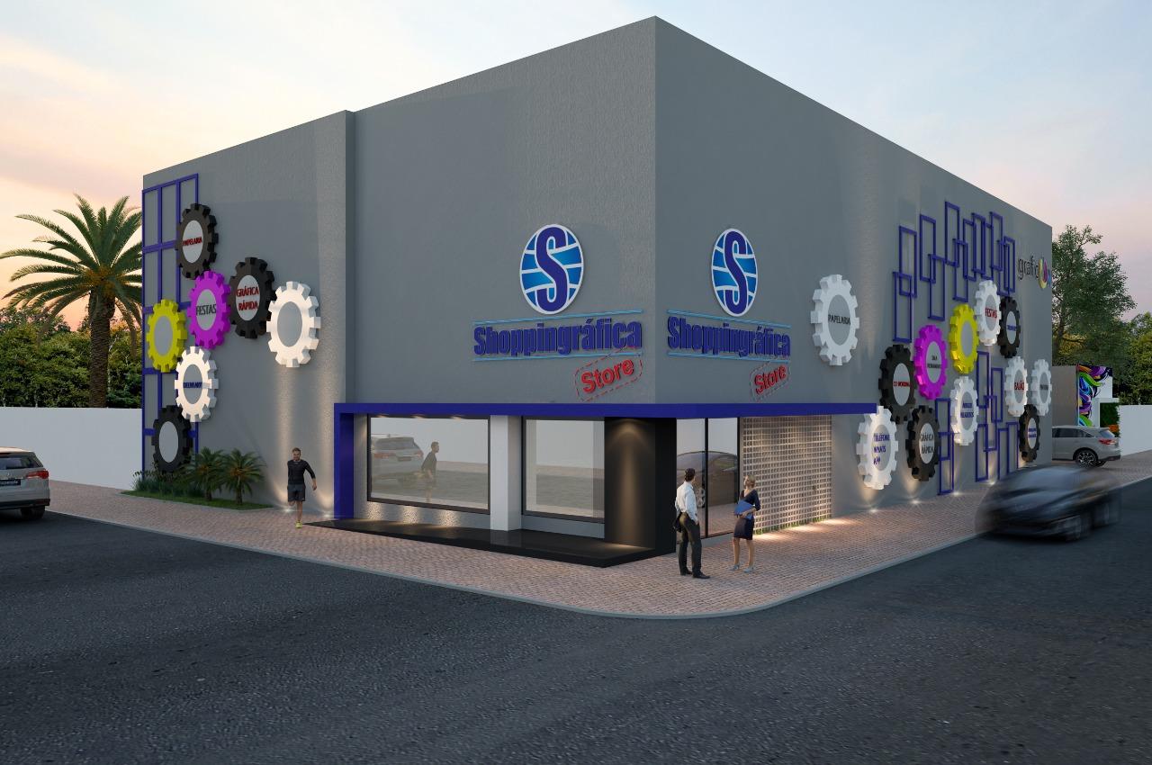 Projeto com a fachada da nova Shoppingráfica Store