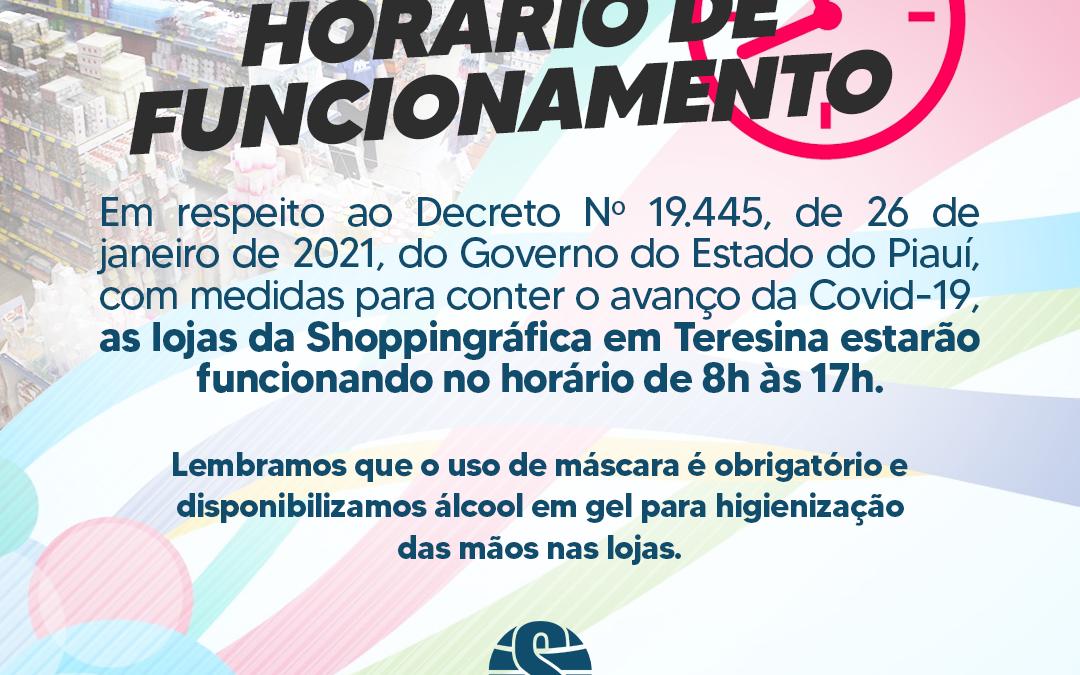 Shoppingráfica irá ter novo horário de funcionamento até 21/02